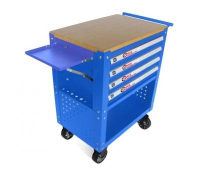 Тележка инструментальная 4-полочная(синяя)с деревянной столешницей+2боковые перфорации и лоток,450х760х910(полки:65х400х530-4шт,360х440х675-секция) FORCEKRAFT FK-1141374B
