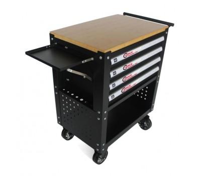 Тележка инструментальная 4-полочная(черная)с деревянной столешницей+2боковые перфорации и лоток,450х760х910(полки:65х400х530-4шт,360х440х675-секция) FORCEKRAFT FK-1141374