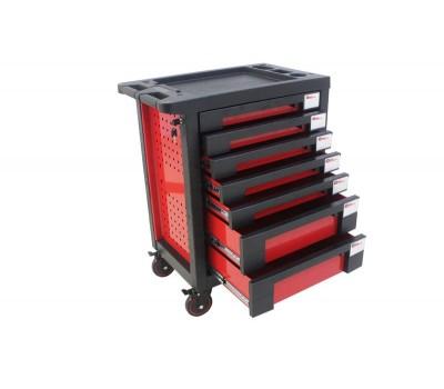 Тележка инструментальная 7-и полочная(красная) с пластиковой защитой корпуса+2боковые перфорации,460х770х980(полки:65х400х530-5шт,140х400х530мм-2шт) FORCEKRAFT FK-1141117AR