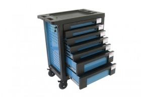 Тележка инструментальная 7-и полочная(синяя) с пластиковой защитой корпуса+2боковые перфорации,460х770х980(полки:65х400х530-5шт,140х400х530мм-2шт) FORCEKRAFT FK-1141117AB