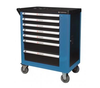 Тележка инструментальная 7-ми полочная (синяя), с дополнительной боковой секцией, 600х840х980 (полки:65х400х530-5шт,140х400х530мм-2шт) Forsage F-1141127B(126B)