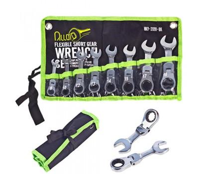 Набор ключей комбинированных трещоточных сокращенных с карданом 8 предметов, 8-19мм. (НКУ-2091-8К) ALLOID