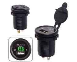 Автомобильное зарядное устройство 1 USB 12-24V врезное в планку + вольтметр (10248 USB-12-24V 2,1A G