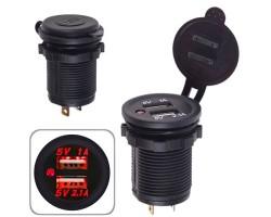Автомобильное зарядное устройство 2 USB 12-24V врезное в планку NEW WHITE (10252 USB-12-24V 3,1A W