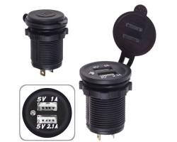 Автомобильное зарядное устройство 2 USB 12-24V врезное в планку WHITE (10449 USB-12-24V 3,1A WHI)