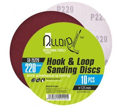 Круг шлифовальный на липучке 125 мм, зерно 220 (10шт) (SD-25220) ALLOID