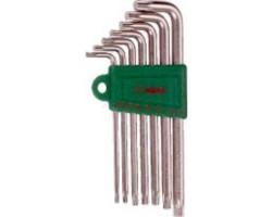 Комплект угловых ключей TORX 7 предметов (с отверстием) (16754-7TH) HANS