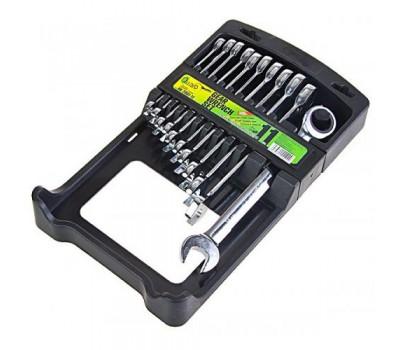 Набор ключей комбинированных. трещоточных 11 предметов.8-19 мм.