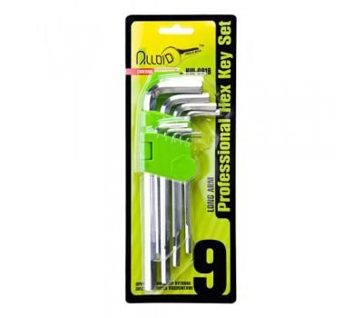Набор ключей шестигранных. изогнутых удлиненных . 9 пр. 1.5-10 мм. (НШ-0918) Alloid
