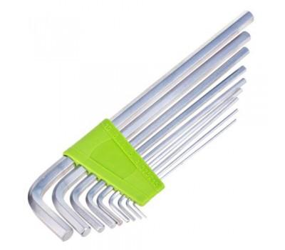 Набор ключей шестигранных. изогнутых удлиненных 9 предметов 1.5-10 мм. (НШ-0918)