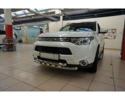 Защита переднего бампера (кенгурятник) Mitsubishi Outlander (2012-) /ус двойной SHARK Can Otomotiv (MIOL.33.2061)