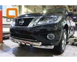 Защита переднего бампера (кенгурятник) Nissan Pathfinder (2014-) /ус передний двойной SHARK Can Otomotiv (NIPA.33.4051)