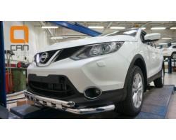 Защита переднего бампера (кенгурятник) Nissan Qashqai (2014-) /ус двойной SHARK Can Otomotiv (NIQA.33.2082)