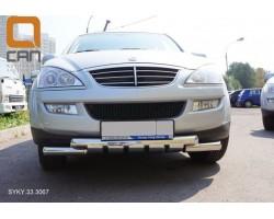 Защита переднего бампера (кенгурятник) Ssang Yong Kyron (2005-) /ус двойной SHARK Can Otomotiv (SYKY.33.306)