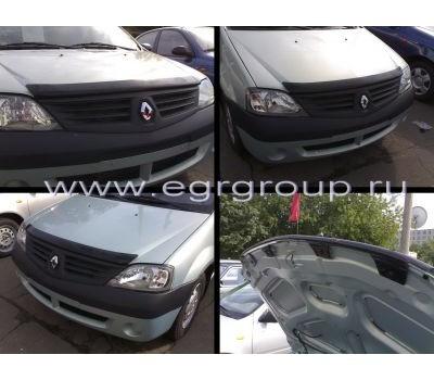 Дефлектор капота (мухобойка) Renault Logan 2004-2013 темный с логотипом EGR (BRE4239DS)