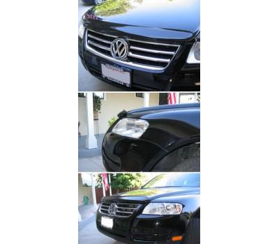 Дефлектор капота (мухобойка) Volkswagen Touareg 2003-2010 темный с логотипом EGR (024011L)