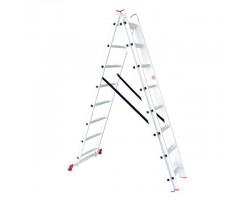 Лестница алюминиевая 3-х секционная универсальная раскладная 3x8 ступ. 5,09 м INTERTOOL LT-0308