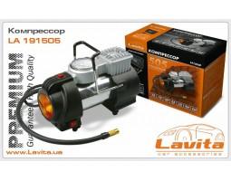 Компрессор LAVITA 12В, 15А, 10 атм, 35л/мин, с фонарем, прикуриватель Premium-качество (LA 191505P)