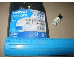 Лампа LED габарит, посветка панели приборов T8-03 9SMD (size 3528) T4W (BA9s) белый 24V Tempest (tmp-33T8-24V)