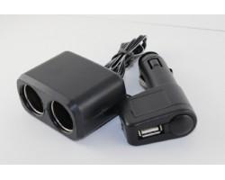 Разветвитель прикуривателя, 2в1 ,USB,1000mA, удлинитель, LED индикатор, ДК