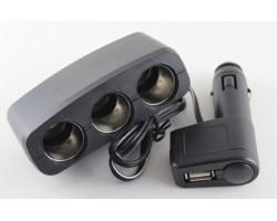 Разветвитель прикуривателя, 3в1, USB,1000mA, удлинитель, LED индикатор, ДК