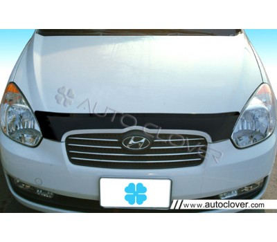 Дефлектор капота (мухобойка) Hyundai Accent 2006-2009 темный Autoclover (AC A728)