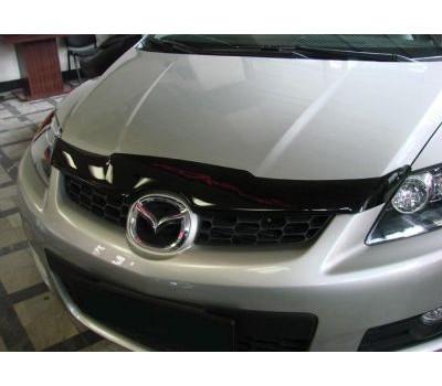Дефлектор капота (мухобойка) Mazda CX-7 2006-2012 темный с логотипом EGR (023041L)
