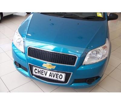 Дефлектор капота (мухобойка) Chevrolet Aveo седан / хэтчбек 2005-2011 темный с логотипом EGR (BRE7110DS)