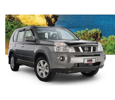 Дефлектор капота (мухобойка) Nissan X-Trail 2007- темный с логотипом EGR (027191L)