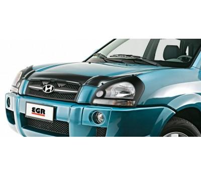 Дефлектор капота (мухобойка) Hyundai Tucson 2004 - 2008 темный с логотипом EGR (314030DSL)